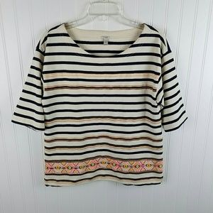 J Crew Black & White Striped Sweater Sz M